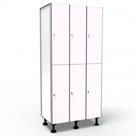 Locker 2 Doors 3 Modules - White