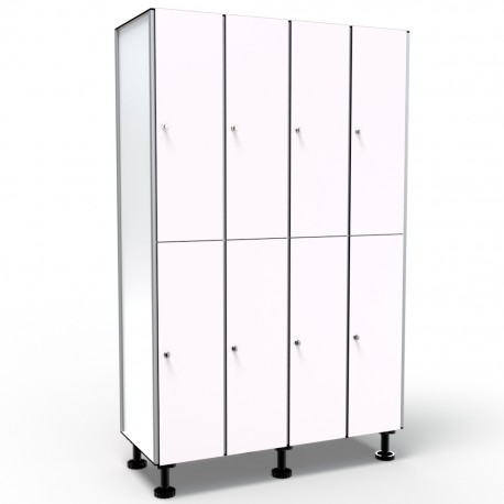 Locker 2 Doors 4 Modules - White