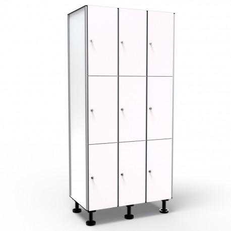 Locker 3 Doors 3 Modules - White