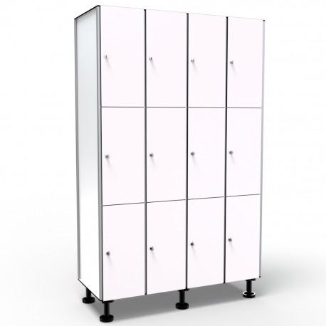 Locker 3 Doors 4 Modules - White