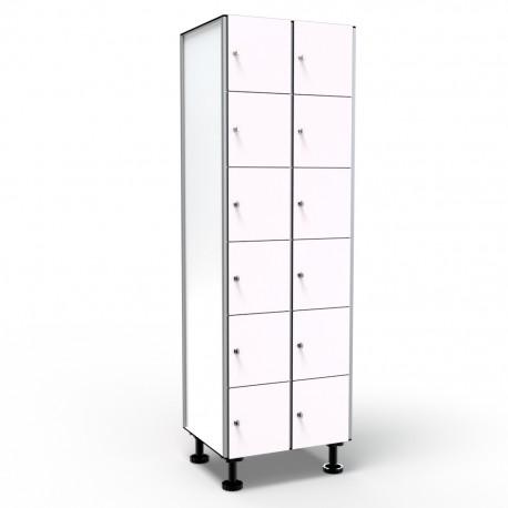 Locker 6 Doors 2 Modules - White