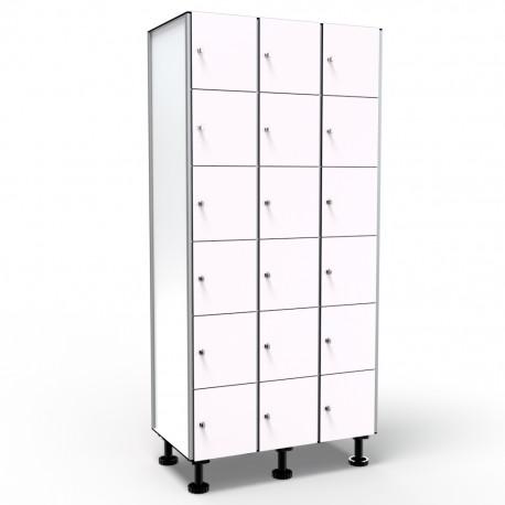 Locker 6 Doors 3 Modules - White