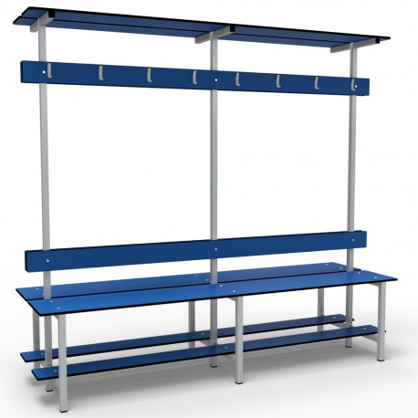 Full Double Bench 2m - Stainless Steel - White