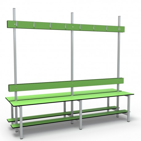 2m Double Bench without shelf - Stainless Steel - White